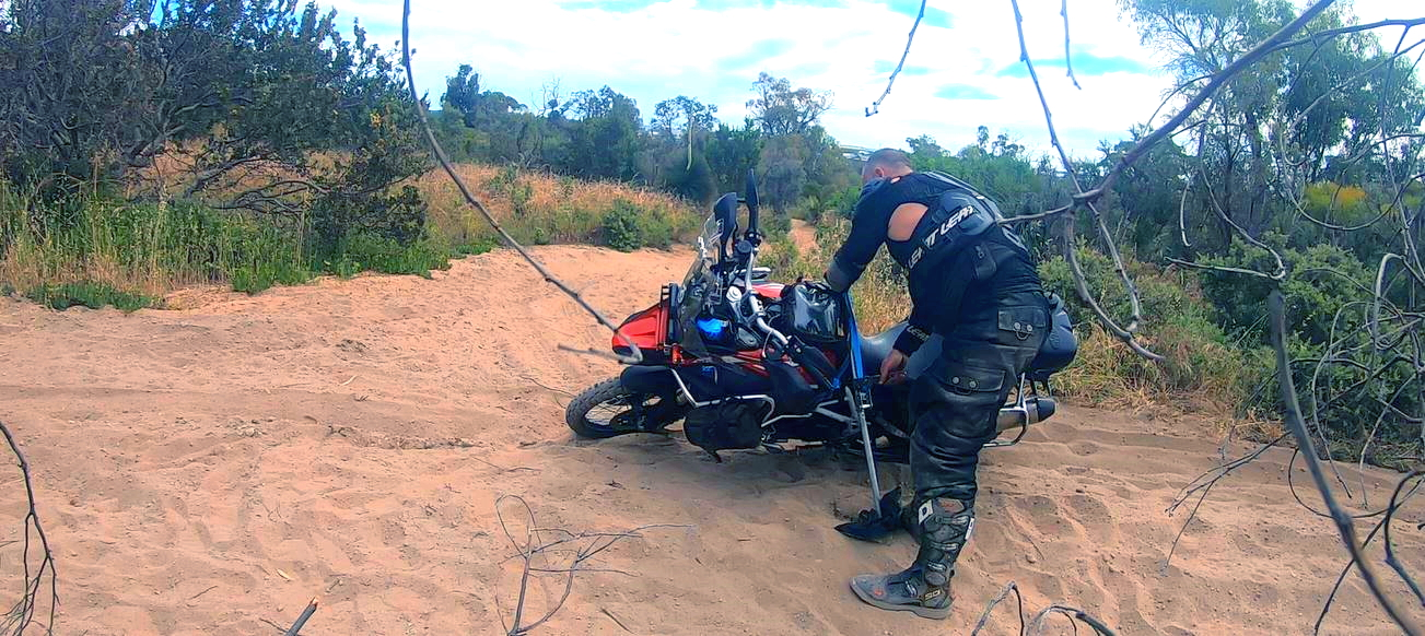 Lifting an adventure bike